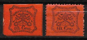 Doyle's_Stamps: Roman States, Italy, 1867 Postage Stamps, #15* & #22*    (L34)