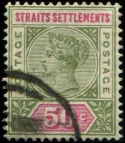 Straits Settlements SC# 87 Victoria 50c used