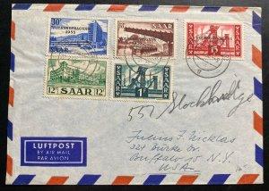 1956 Merzig Saar Airmail Cover To Buffalo NY USA Referendum Overprints