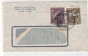 Chile 1956 Santiago Airmail Two Plane Stamps Window Cover Ref 25546