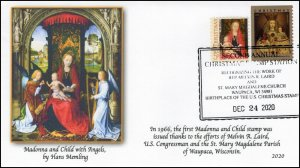 20-293, 2020, Christmas Stamp, Event Cover, Pictorial Postmark, Waupaca WI