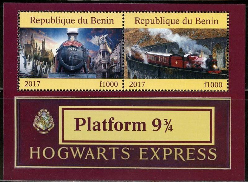 BENIN 2017  HARRY POTTER HOGWARTS EXPRESS TRAIN  OF TWO   MINT NH