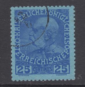 Austria, Offices in Crete, Sc 22 used. 1914 25h ultra on blue Franz Joseph I