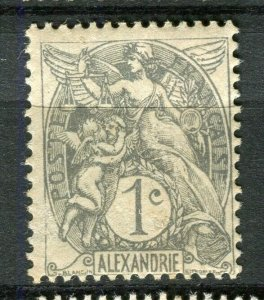 FRENCH COLONIES; ALEXANDRIE early 1900s Blanc Type Mint hinged 1c. value