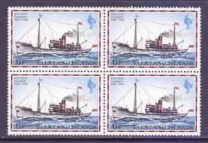 Falkland Islands Scott 265, 1978 Ships 6p Block of 4 MNH**