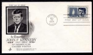 US 1246 John F Kennedy Artcraft U/A FDC
