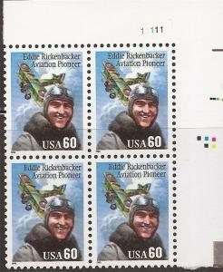 US Stamp - 1995 Eddie Rickenbacker - Plate Block of 4 Stamps 2998