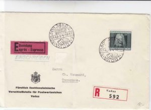 Liechtenstein 1942 Vaduz to Tavannes stamps cover R20537