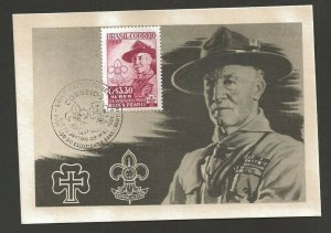 1957 Brazil Scout C87 FDC Baden Powell max card