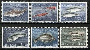 Greenland 1981-86, Fish, Marinelife complete I-VI set MNH, High values, Mi 35,5€
