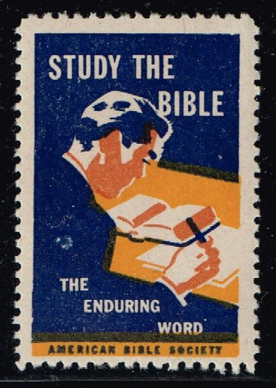 US STAMP CHRISTIAN LABEL STAMP STUDY THE BIBLE