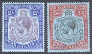 Bermuda 1927 2s-2s6d KeyPlate Wmk Script SG 52-53 Sc 50-52 LMM/MLH Cat£108($140)