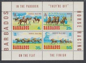 Barbados 315a Horses Souvenir Sheet MNH VF