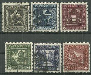 1926 Austria B71-6 complete Nibelungen Issue set used