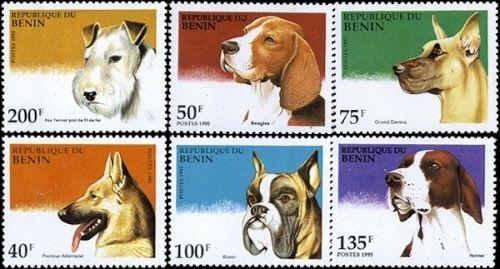 Domestic Dogs On Stamps From Benin #741-746 MNH