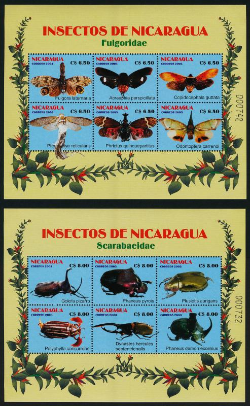 Nicaragua 2408-9 MNH Insects, Beetles
