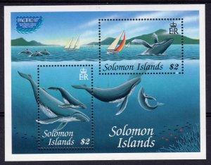 Solomon Islands 1997 Sc#847 WHALES Pacific 97 Sheet of 2 MNH