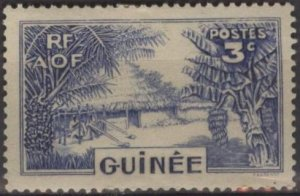 French Guinea 129 (mlh) 3c Guinea village, ultra (1938)