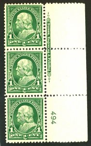 U.S. #279 MINT PL# STRIP OF 3 OG NH