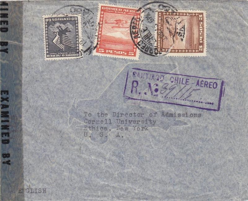 1943, Santiago, Chile to Ithaca, NY, Censored, See Remark (C2414)