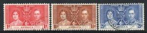 Antigua 1937 Coronation set SG 95-97 used