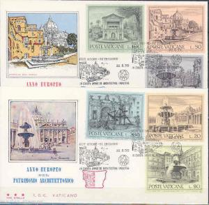 VATICAN CITY FOUNTAINS SC#573/75  TRE STELLE   SET TWO  FIRST DAY COVERS