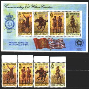 Isle Of Man. 1976. 74A-77A, bl2. Revolution in america. MNH.