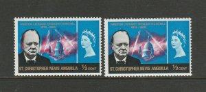 St Kitts Nevis, 1966 Churchill, 1/2 cent, UM/MNH good shift of red, giving doubl