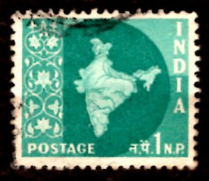 India 1np Map of India 1960 SG.399, Sc.302 Used (#01)