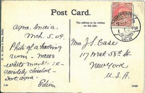 INDIA -  POSTAL HISTORY: POSTCARD with POSTMARK: MAIDEN'S HOTEL - DELHI 1906