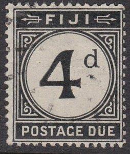 FIJI POSTAGE DUE 1918 4d fine used - scarce used...........................54892