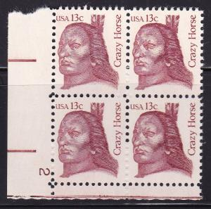 United States 1980 Great Americans 13c Crazy Horse Plate Number Block VF/NH