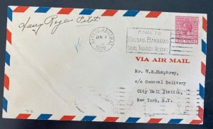 1929 Nassau Bahamas First Flight Airmail Cover FFC To New York USA Pilot Signed