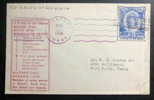 1934 Niuafoou Tonga Toga Islands Tin Can Canoe Mail Cover To Fort Worth TX USA
