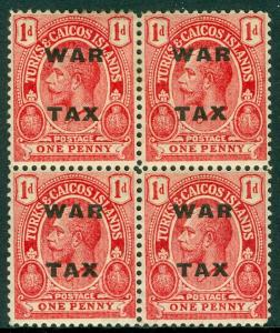 EDW1949SELL : TURKS & CAICOS 1918 SG #145aw Block of 4 w/inverted wmk Cat £300