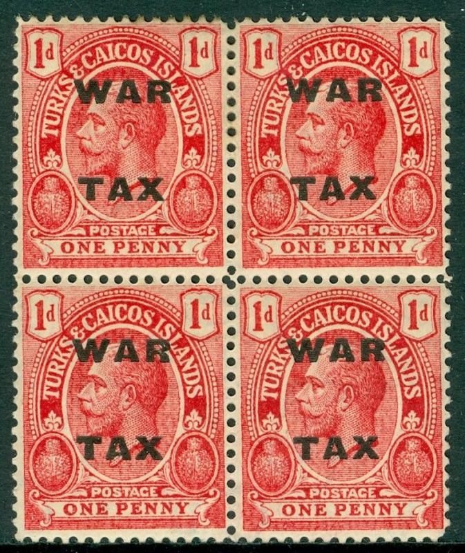 EDW1949SELL : TURKS & CAICOS 1918 SG #145aw Block of 4 w/inverted wmk Cat £300++