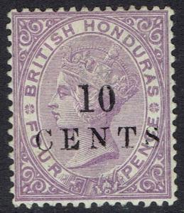 BRITISH HONDURAS 1888 QV 10 CENTS ON 4D SMALL NUMERAL