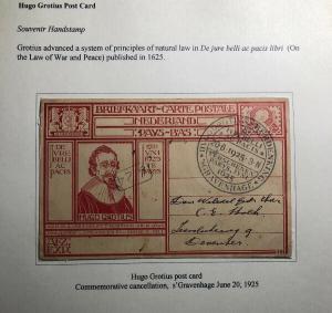 1925 The Hague Netherland Postcard Cover Hugo Grotius Commemorative Cancel