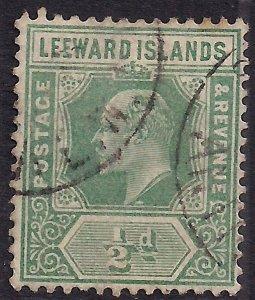 Leeward Islands 1929 KGV 1/2d Dull Green Used SG 37 ( F623 )