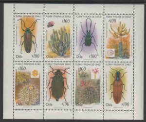 CHILE #1140  1995  INSECTS AND CACTI      MINT VF NH  O.G  SHEET