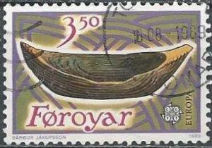 Faroe Islands 191 (used) 3.50k Europa: child's wooden boat (1989)