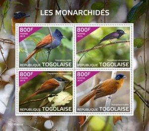 Togo Stamps 2019. - Monarchs (Terpsiphone viridis; Terpsiphone atrocaudata; Terp