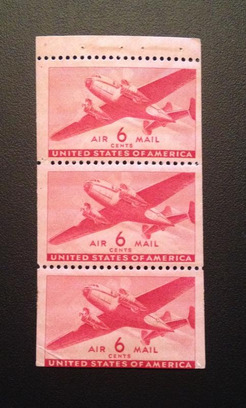 Scott #C25a Airmail Booklet Pane of 3  MINT, FINE-F/VF, NH, OG