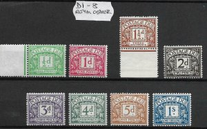 Sg D1 - D110 1 x Full Run of Postage Dues excluding 'a' numbers UNMOUNTED MINT