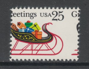 US Sc 2428 MNH. 1989 25c Christmas Sleigh with Presents, MISPERF