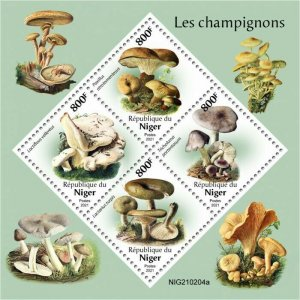 Niger 2021 MNH Mushrooms Stamps Fungi Paxillus Lactarius Mushroom Nature 4v M/S