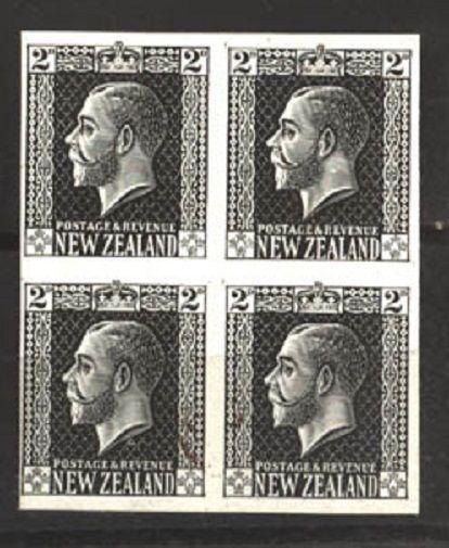 NEW ZEALAND GV surface printed 2d plate proof imperf block of 4 in black...81174