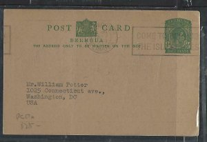 BERMUDA COVER (P0210B) 1949  KGVI  1/2D  PSC CMDS BOWIE TO USA