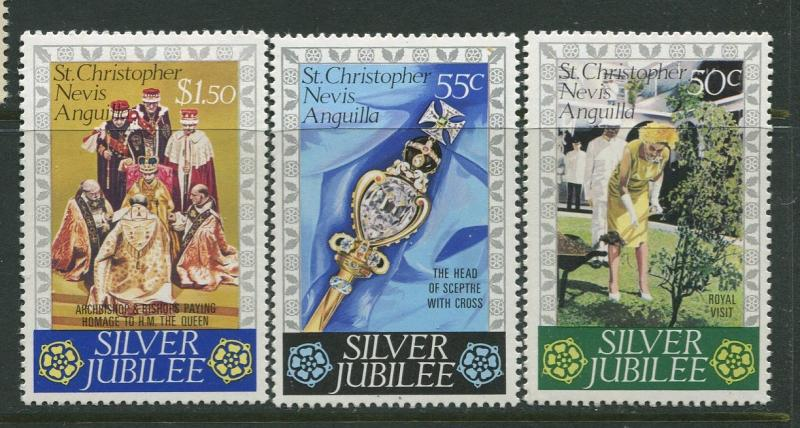 St. KITTS-NEVIS-Scott 332-34 -Silver Jubilee -1977- MLH - Set of 3 Stamps