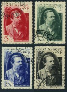 Russia 555-558,CTO.Michel 523-526. Friedrich Engels,German Socialist,1935.